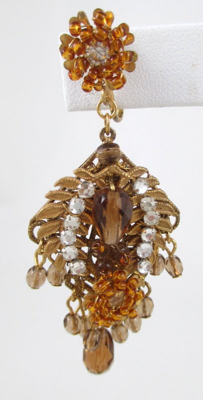 Gorgeous Miriam Haskell Amber Glass Earrings