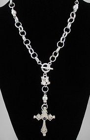 Gorgeous Barbosa White Silver & Pearl Cross Necklace