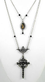 Barbosa Cross Religious Iconography Charm Bib Necklace