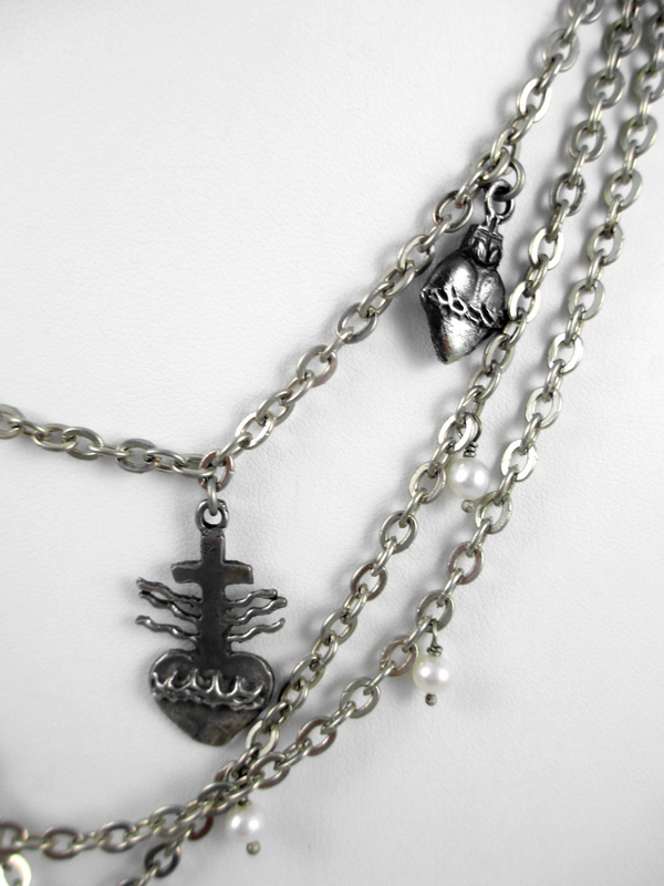 Stunning Barbosa Cross & Sacred Hearts Charm Necklace