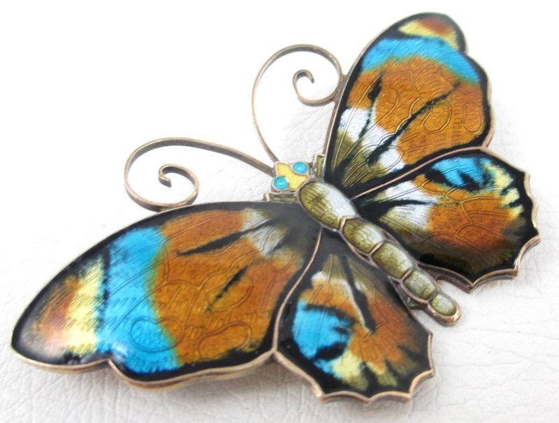 Beautiful David Andersen Sterling Enamel Butterfly Pin