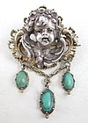 Charming Hungarian 800 Silver Turquoise Cherub Pin