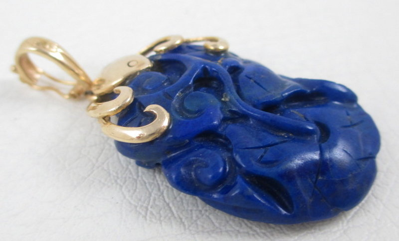 Lovely Chinese 14k Gold Carved Lapis Lazuli Pendant