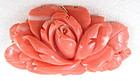 Lovely 14K Chinese Carved Coral Flower Pin