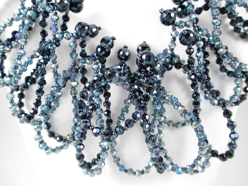 Posh Aurora Borealis Black & Blue Glass Bead Necklace
