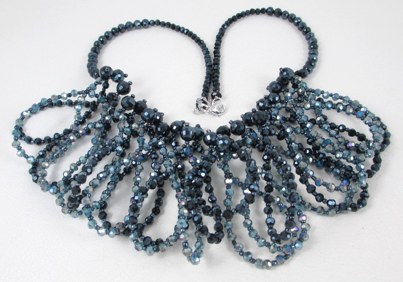 Posh Aurora Borealis Black & Blue Glass Bead Necklace
