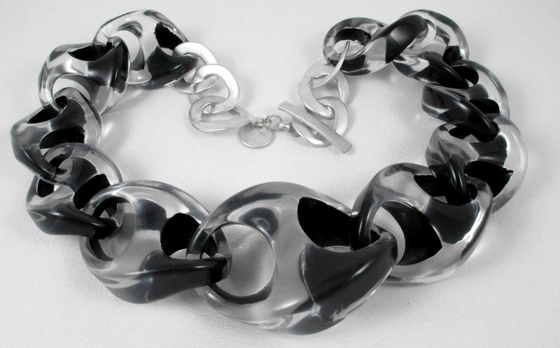 Opulent Organic Large Black & Clear Lucite Necklace