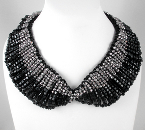 Big Beautiful Black & Silver Glass Bead Bib Necklace