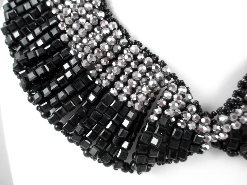 Big Beautiful Black & Silver Glass Bead Bib Necklace