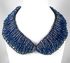 Exquisite Large Blue Glass Bead Bib Necklace