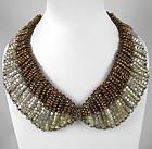 Elegant Shimmering Bronze Tones Glass Bead Bib Necklace