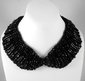 Striking Black Glass Bead Bib Necklace