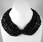 Striking Black Glass Bead Bib Necklace