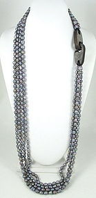 Patricia Von Musulin Ebony Sterling Pearl Necklace