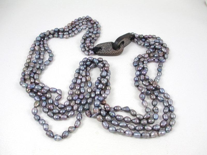 Patricia Von Musulin Ebony Sterling Pearl Necklace