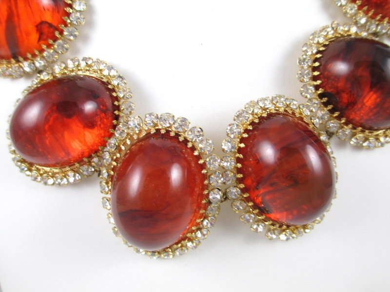 Massive Schreiner New York Resin Rhinestone Necklace