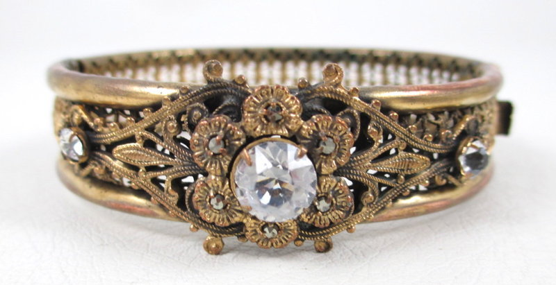 Lovely Brass and Crystal Filigree Bangle Bracelet