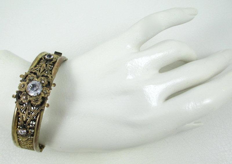 Lovely Brass and Crystal Filigree Bangle Bracelet