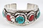 Effie Calavaza Sterling Coral Turquoise Snake Bracelet