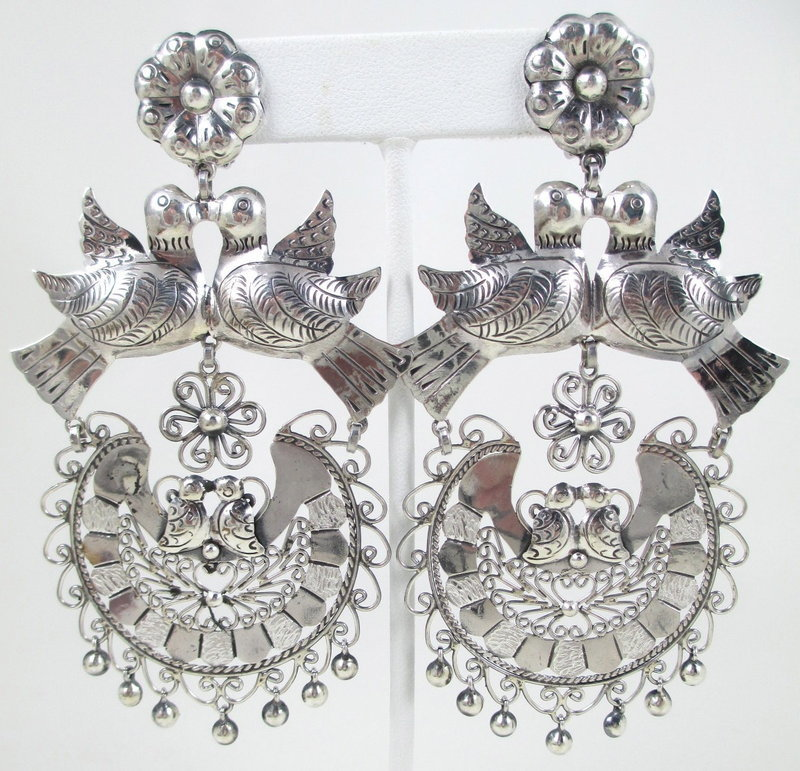 Gorgeous Large Mexican Silver Filigree Bird Earrings