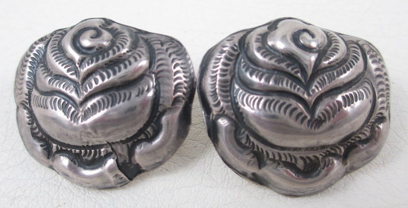 Lovely MATL Mexican Silver Rose Earrings