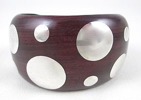 Classic Spratling Design Wood Sterling Dot Bracelet