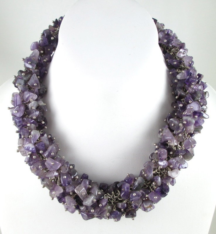 Emilia Los Castillo Sterling Amethyst Nugget Necklace