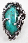 Unusual Pal Kepenyes Sterling Turquoise Modernist Ring