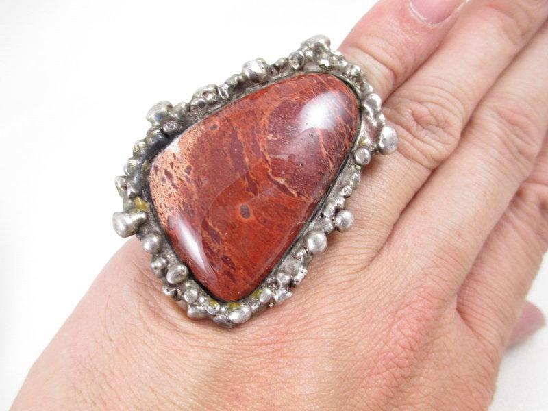 Unusual Pal Kepenyes Sterling Agate Modernist Ring