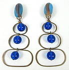 Mod Brass Electric Blue Glass Chandelier Earrings