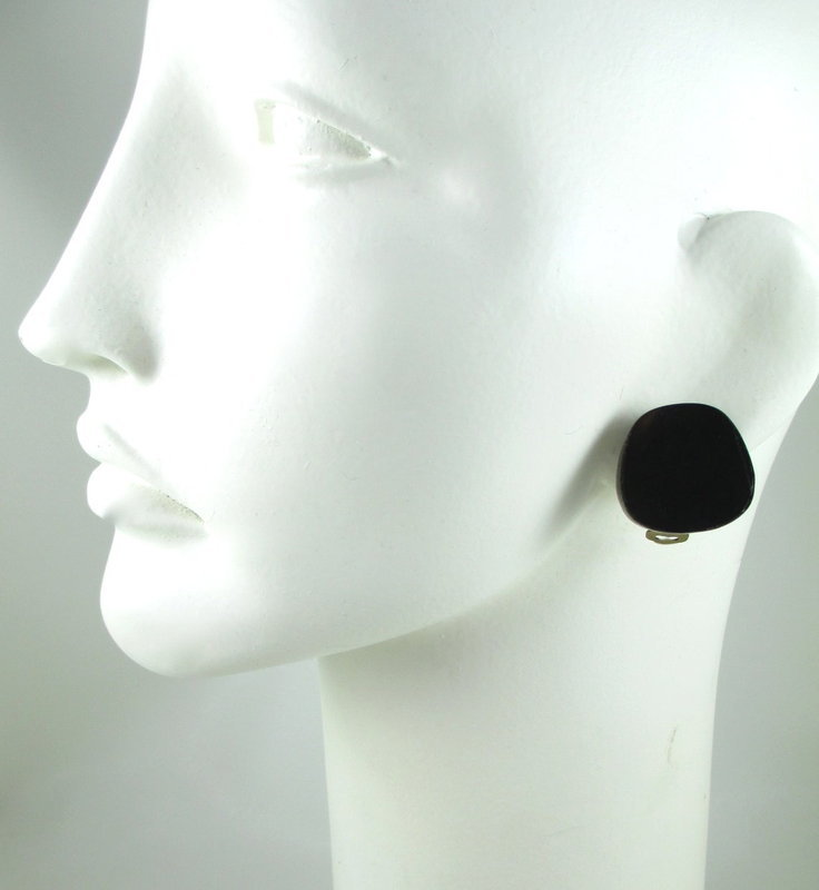 Celia Sebiri Brass & Onyx Inlay Button Earrings