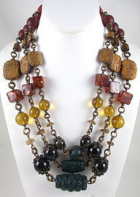 Outstanding Stephen Dweck Bronze Gemstone Necklace