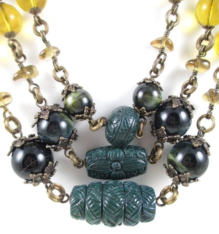 Outstanding Stephen Dweck Bronze Gemstone Necklace