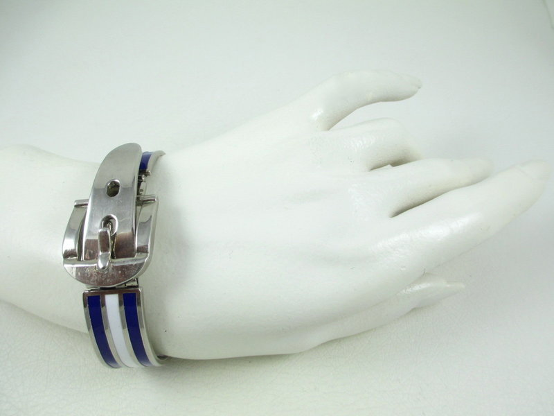 Classic Gucci Style Sterling Enamel Buckle Bracelet