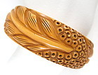 Beautiful Carved Cream Corn Bakelite Leaf Bracelet