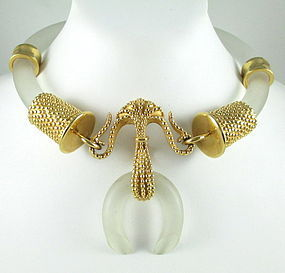 Elegant Inna Cytrine Paris Frosted Lucite Gold Necklace