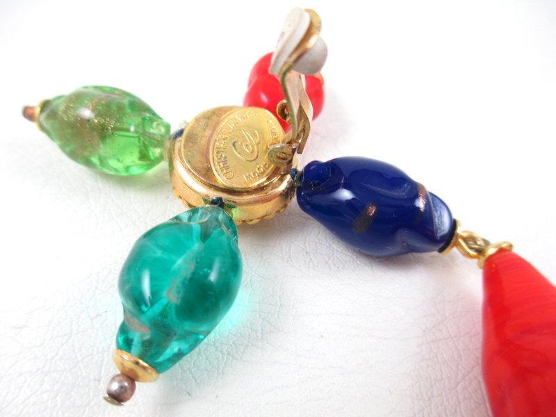 Dramatic Christian Lacroix Gripoix Glass Clip Earrings