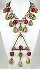 Stunning Joseff of Hollywood Brass & Glass Bib Necklace