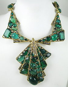 Robert Sorrell Emerald Crystal Necklace & Earrings