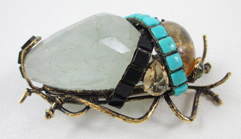 Adorable Iradj Moini Gemstone Bug Pin