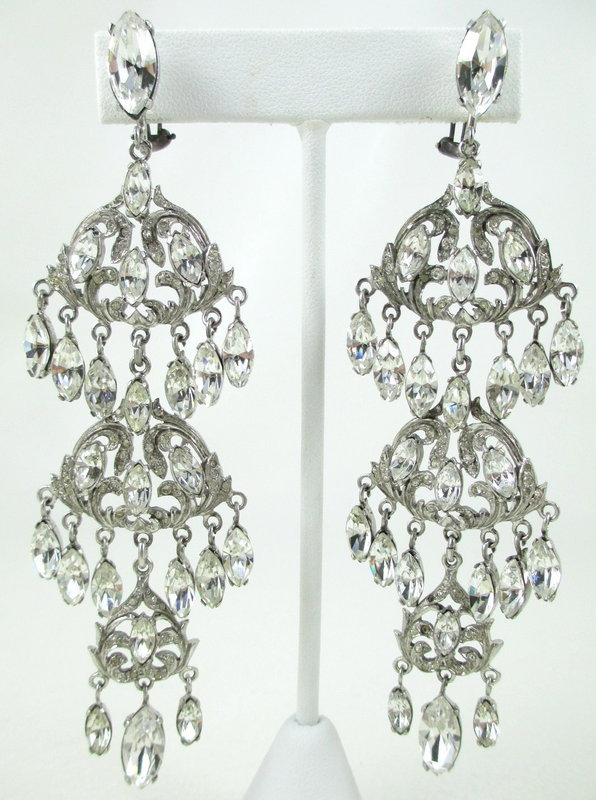 Outstanding Sterling Crystal Paste Chandelier Earrings