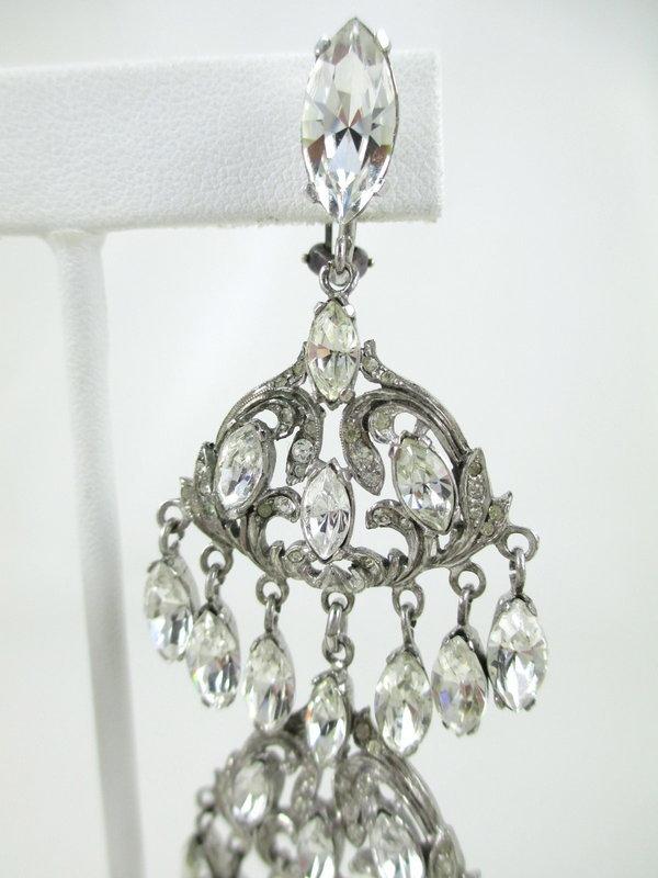 Outstanding Sterling Crystal Paste Chandelier Earrings