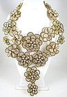 Over the Top Floral Rhinestone Bib Necklace & Earrings