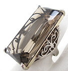 Beautiful Sterling Smoky Topaz Filigree Cocktail Ring