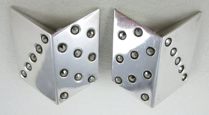 Unusual Sterling Marcasite Modernist Clip Earrings