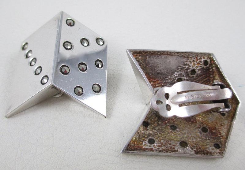 Unusual Sterling Marcasite Modernist Clip Earrings