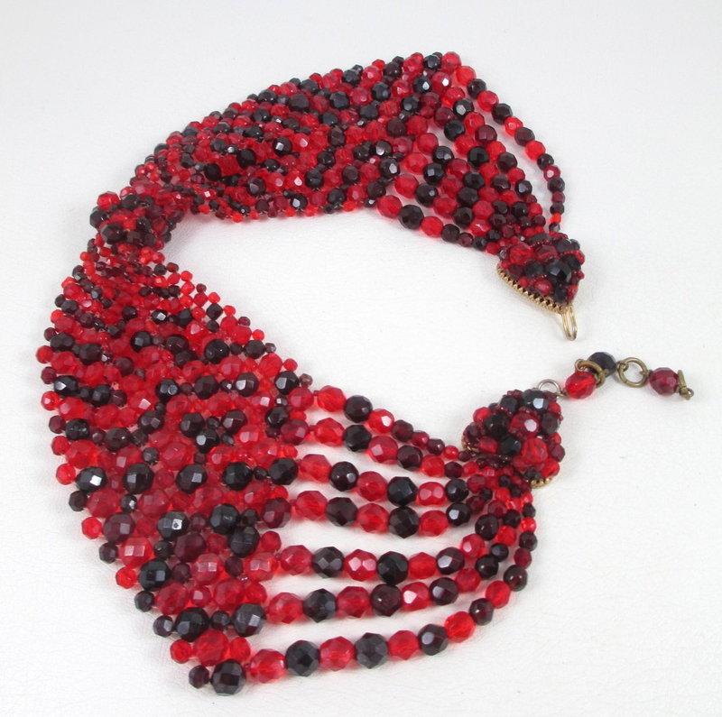 Rare Coppola e Toppo Red Woven Beaded Collar Necklace