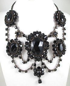 Sherri Jennings Italy Black Rhinestone Festoon Necklace