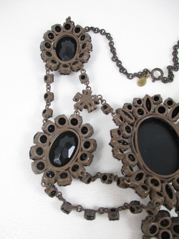 Sherri Jennings Italy Black Rhinestone Festoon Necklace