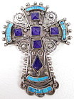 Gorgeous MATL Sterling Gemstone Cross Pin Pendant